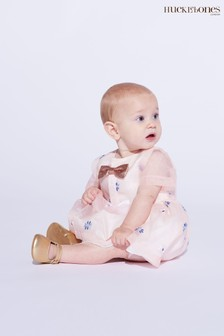 Hucklebones Pink Bow Print Dress And Bloomers