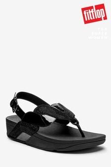 סנדלים עם רצועת קרסול של™FitFlop דגםPaisley עם נצנצים ומראה חבל בשחור