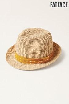 Trilby klobúk FatFace s žltou bodkovanou stuhou