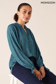 Monsoon Nachhaltige Bluse mit Tupfen-Print, Blau