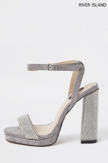 River Island Grey Heatseal Platform Sandals