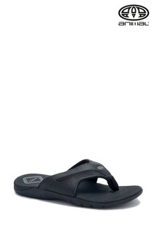 Animal Black Fader Leather Flip Flops