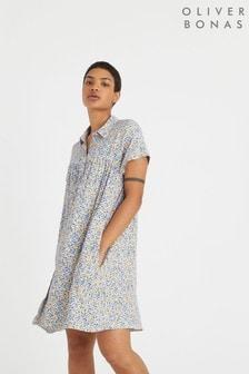 שמלת חולצה מיני עם הדפס של Oliver Bonas דגם Lemon בכחול