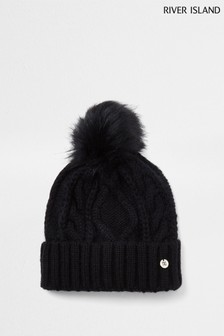 River Island Black Cable Knit Bongo Beanie Hat