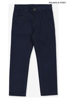 מכנסי צ'ינו אלגנטיים מכותנה של Polarn O. Pyret בצבע כחול