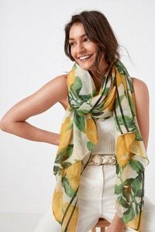 檸檬黃印花皺紗輕量圍巾