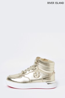 River Island Gold Metallic High Top Lace Up Shoes