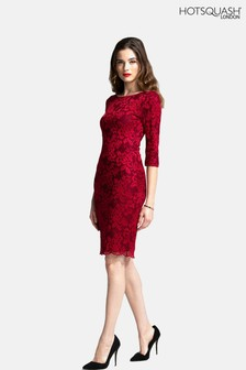 HotSquash Red Long Sleeved Lace Dress