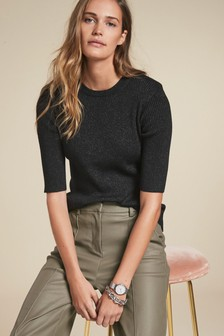 Metallic Thread Ribbed Jumper