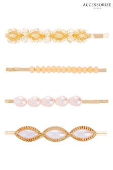 Accessorize Cream  Flower Bead And Pearl Clip Set