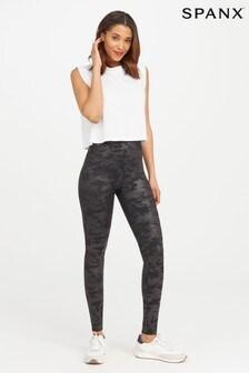 SPANX® Black Camo Faux Leather Leggings