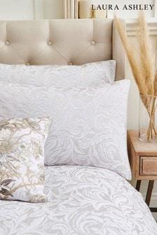 Set of 2 Laura Ashley Silver Fowey Jacquard Pillowcases