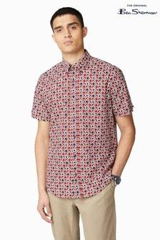 Ben Sherman Red Short Sleeve Retro Geo Shirt