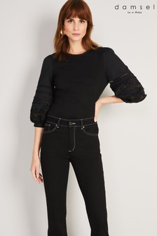 חולצת Marloe שחורה מכותנה מחוררתשלDamsel In A Dress