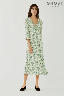 Ghost Nisha Floral Print Button Through Crepe Dress
