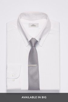 Shirt With Silver Collar Pin
