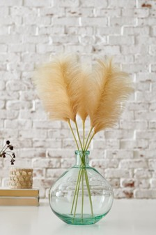 Artificial Pampas Grass Stems In Glass Vase