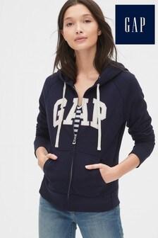 Gap Classic logo zip keresztül kapucnis pulóver