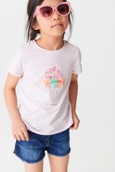 Кремовая футболка с 3D-аппликацией в виде мороженого  (3-16 лет)