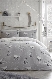 Fusion Brushed Cotton Penguins And Polar Bears Duvet Cover And Pillowcase Set