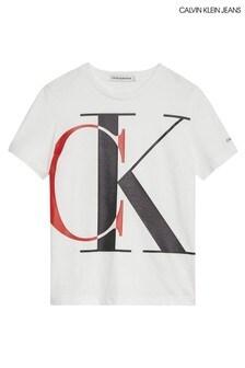 تي شيرت بالحروف الأولى Exploded أبيض من Calvin Klein Jeans