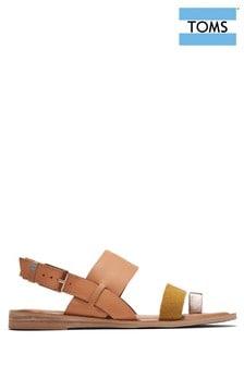 TOMS Sandale aus Leder, natur/goldfarben