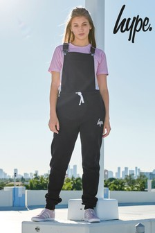Hype. Black Jersey Dungarees
