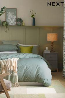 Sage Green Cotton Rich Duvet Cover And Pillowcase Set