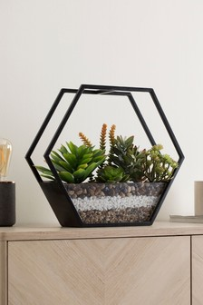 Artificial Succulents In Terrarium
