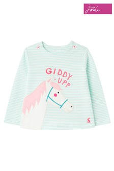 Joules Green Harriet Organically Grown Cotton Appliqué Top