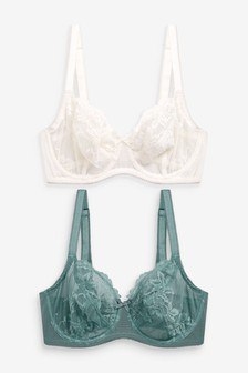 Lizzie DD+ Non Padded Lace Balcony Bras 2 Pack