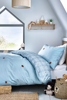 Teal Tufted Hedgehog Embroidery Duvet Cover and Pillowcase Set