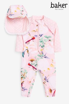 Baker by Ted Baker Lilac Swimsuit And Hat Set