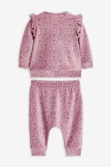 Ensemble pantalon de jogging et haut en velours imprimé floral (0 mois - 3 ans)