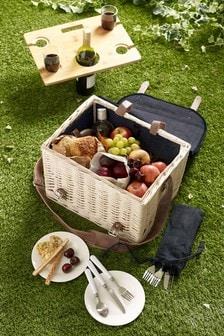 Picknickkorb aus Denim für 4 Personen