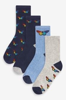 Lot de quatre paires de chaussettes avec semelle à coussinet
