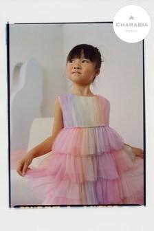 Charabia Pink Rainbow Tiered Dress