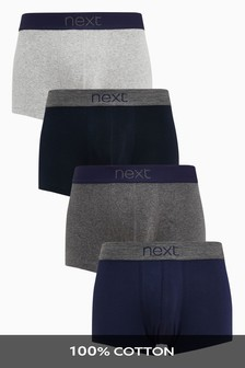 Confezione da quattro boxer in puro cotone a vita bassa