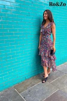 שמלת מידי עם הדפס פרחוני בשחור שלRo&Zo