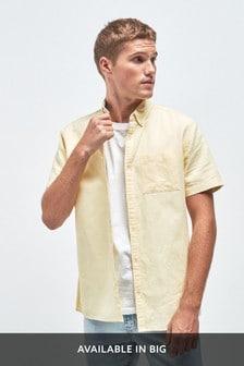 Chemise en mélange de lin à manches courtes