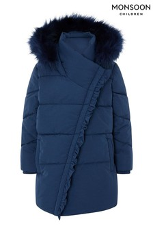 Monsoon Blue Asymetric Ruffle Coat