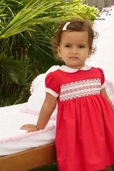 Rachel Riley Gesmoktes Kleid mit Strampler, Rot