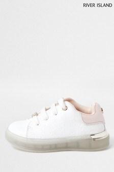 River Island White Mono Transparent Plim Shoes