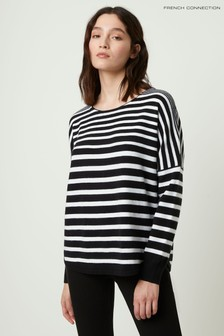 French Connection Black Drop Shoulder Stripe Boat Neck Jumper