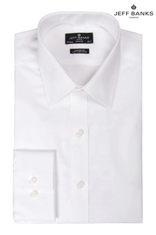 Jeff Banks White Semi Cutaway Collar Single Cuff Fit Shirt