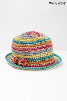 White Stuff粉色兒童彩虹條紋帽