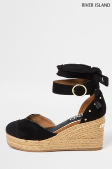 River Island Black Studded Wedges