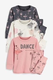 Set de 3 pijamale comode cu model balerină  (9 luni - 12 ani)