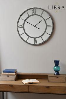 Libra Grey Framed Beaded Mirrored Round Wall Clock