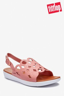 FitFlop™ Pink Elodie Entwined Loops Leather Back Strap Sandals